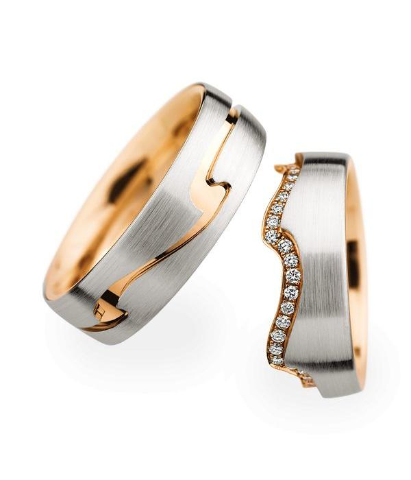 Christian Bauer Wedding Rings 18 Carat Rose Gold 48 Brilliants