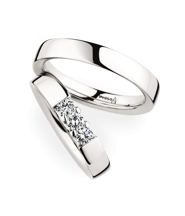 Christian Bauer Wedding Rings 950 Platina 3 Brilliants
