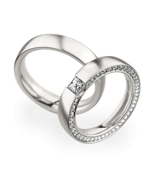Christian Bauer Wedding Rings 950 Platina 42 Brilliants / 1 Diamond Princess