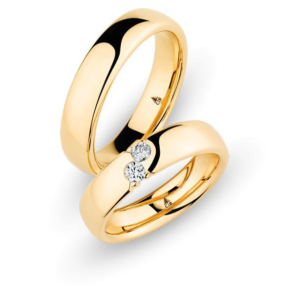 Wedding Rings 18 Carat Rose Gold 2 Brilliants