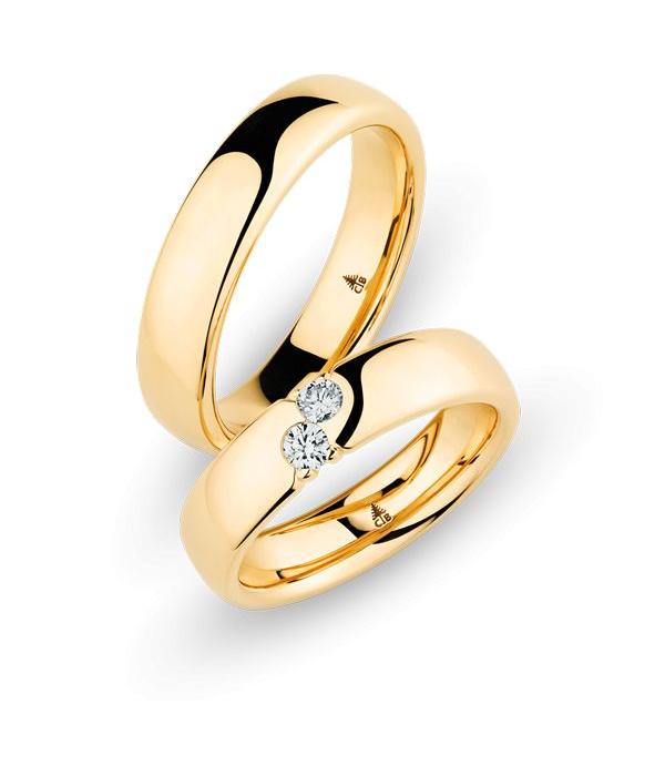 Christian Bauer Wedding Rings 18 Carat Rose Gold 2 Brilliants