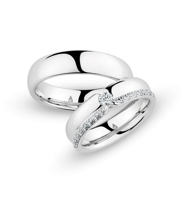 Christian Bauer Wedding Rings 18 Carat White Gold 35 Brilliants