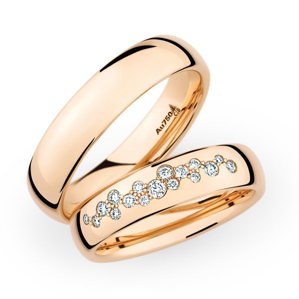 Wedding Rings 18 Carat Rose Gold 17 Brilliants