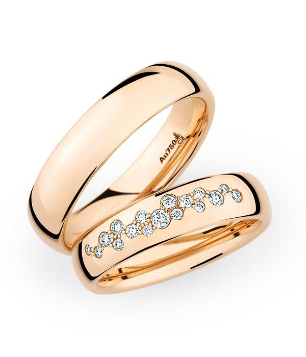 Christian Bauer Wedding Rings 18 Carat Rose Gold 17 Brilliants