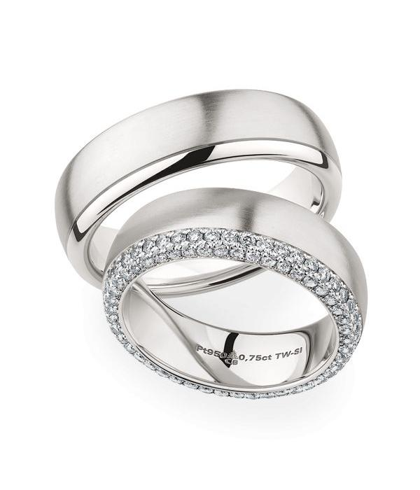 Christian Bauer Wedding Rings 950 Platina 92 Brilliants