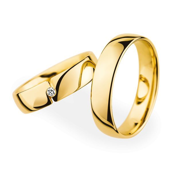 Wedding Rings 18 Carat Yellow Gold 1 Brilliant