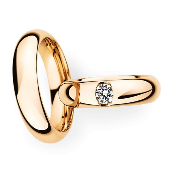 Wedding Rings 14 Carat Rose Gold 1 Brilliant