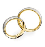 Christian Bauer Wedding Rings 950 Platina 18 Krt. Yellow Gold 3 Brilliants