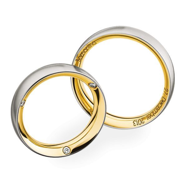 Wedding Rings 950 Platina 18 Carat Yellow Gold 3 Brilliants