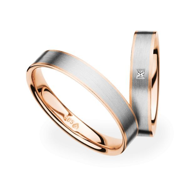 Wedding Rings 14 Carat Rose Gold and White Gold 1 Diamond Princess