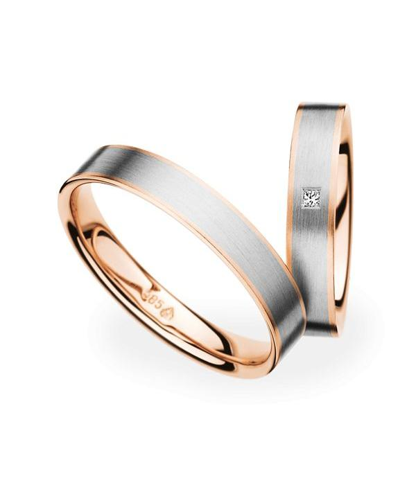 Christian Bauer Wedding Rings 14 Carat Rose Gold and White Gold 1 Diamond Princess
