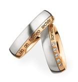 Christian Bauer Wedding Rings 950 Platina 18 Krt. Rose Gold 5 Brilliants