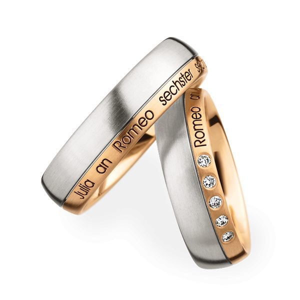 Wedding Rings 950 Platina 18 Carat Rose Gold 5 Brilliants
