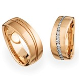 Christian Bauer Wedding Rings 18 Carat Rose Gold 38 Brilliants