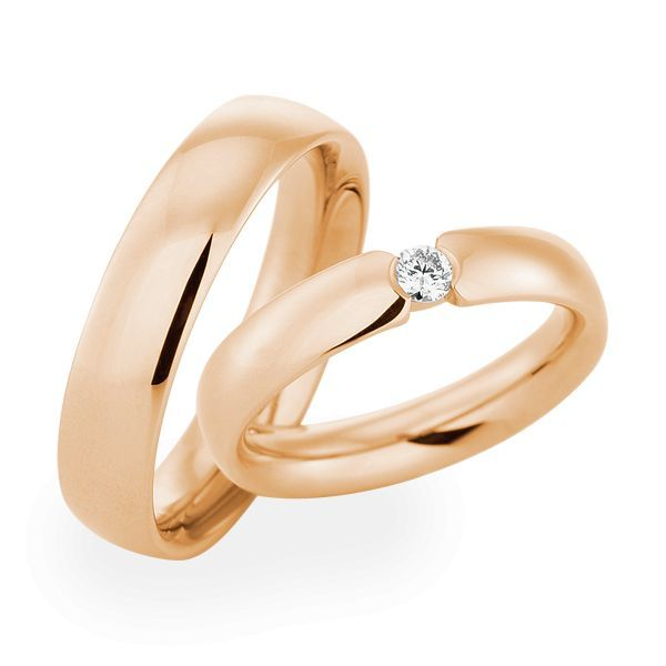 Wedding Rings 18 Carat Rose Gold 1 Brilliant