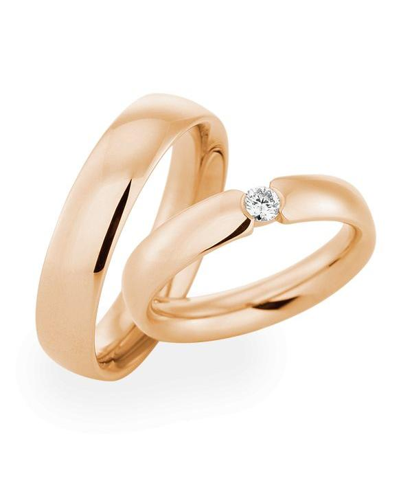 Christian Bauer Wedding Rings 18 Carat Rose Gold 1 Brilliant
