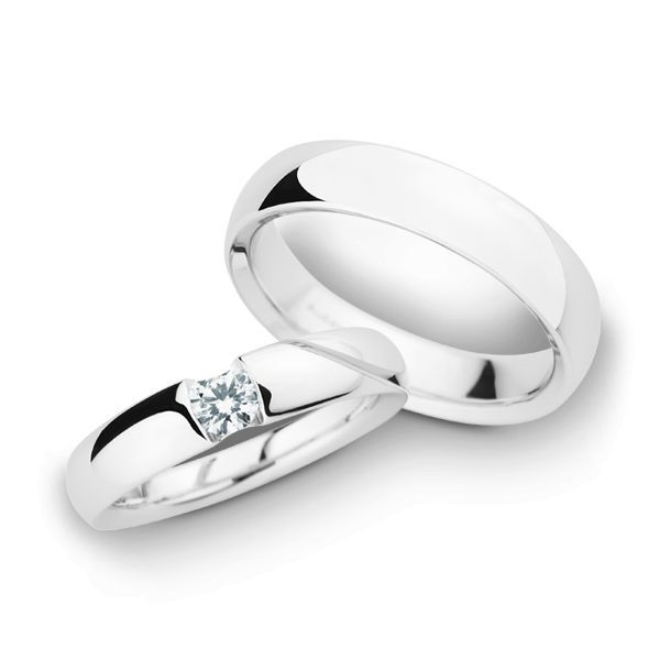 Wedding Rings 14 Carat White Gold 1 Brilliant