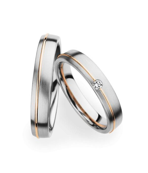 Christian Bauer Wedding Rings 14 Carat White Gold and Rose Gold 1 Brilliant