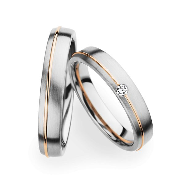 Christian bauer wedding rings 14 carat white gold and rose for Christian bauer wedding rings