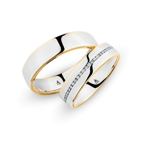 Wedding Rings 18 Carat Rose Gold / 950 Palladium 56 Brilliants