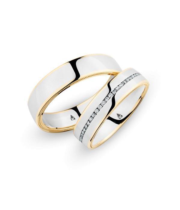 Christian Bauer Wedding Rings 18 Carat Rose Gold / 950 Palladium 56 Brilliants