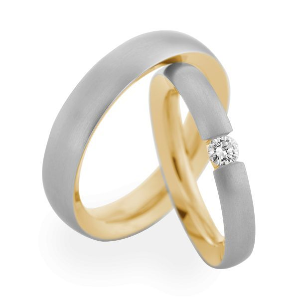 Wedding Rings 950 Platina 18 Carat Yellow Gold 1 Brilliant