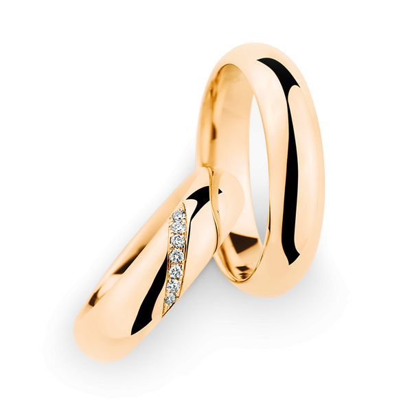 Wedding Rings 18 Carat Rose Gold 7 Brilliants