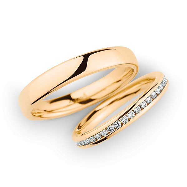 Wedding Rings 14 Carat Rose Gold 43 Brilliants