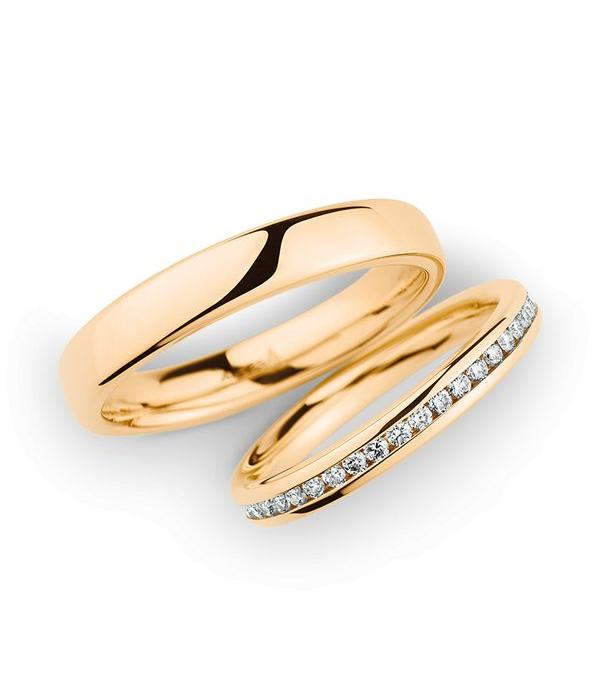 Christian Bauer Wedding Rings 14 Carat Rose Gold 43 Brilliants