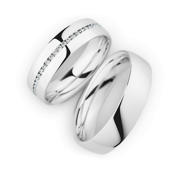 Wedding Rings 14 Carat White Gold 50 Brilliants