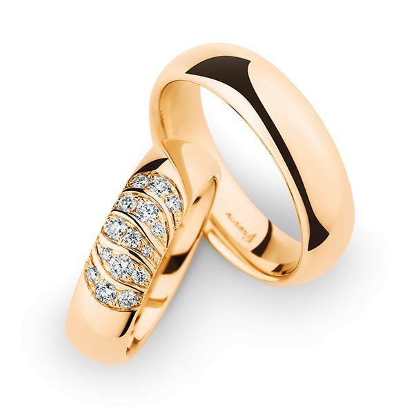 Wedding Rings 14 Carat Rose Gold 15 Brilliants