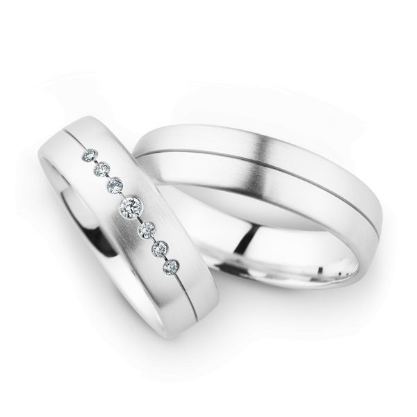 Wedding Rings 14 Carat White Gold 7 Brilliants