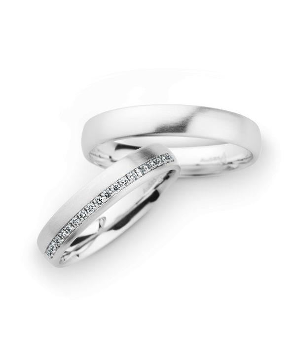 Christian Bauer Wedding Rings 14 Carat White Gold 20 Brilliants