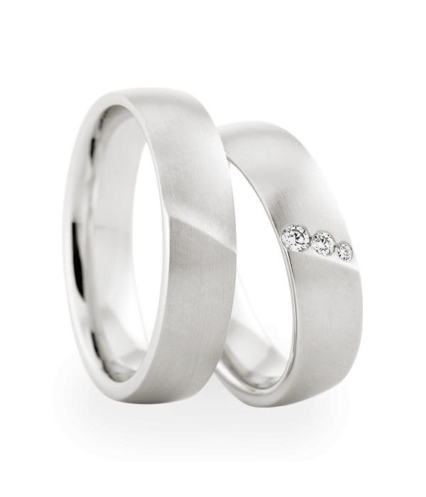 Christian Bauer Wedding Rings 18 Carat White Gold 3 Brilliants