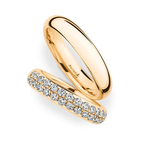 Wedding Rings 18 Carat Rose Gold 32 Brilliants