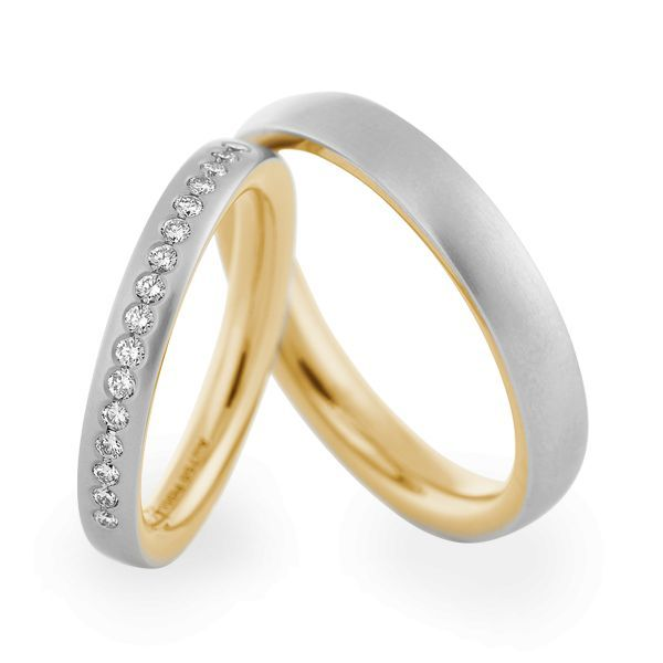 Wedding Rings 950 Platina / 18 Carat Yellow Gold 16 Brilliants