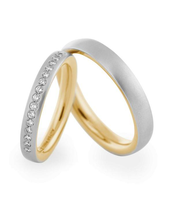 Christian Bauer Wedding Rings 950 Platina / 18 Krt. Yellow Gold 16 Brilliants