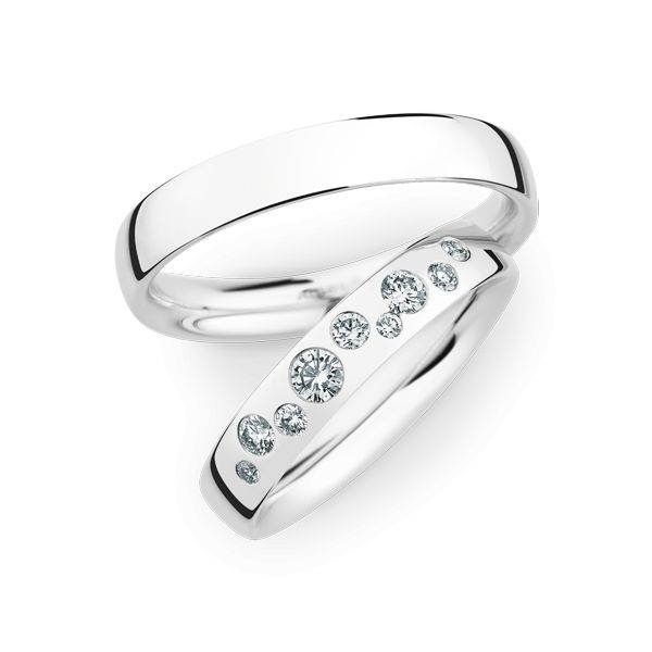 Wedding Rings 14 Carat White Gold 9 Brilliants