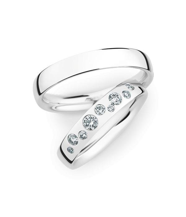 Christian Bauer Wedding Rings 14 Carat White Gold 9 Brilliants