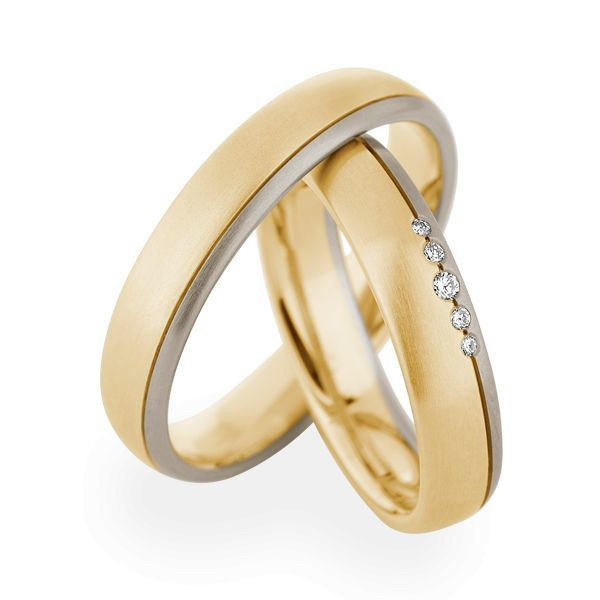 Wedding Rings 14 Carat Yellow Gold / White Gold 5 Brilliants