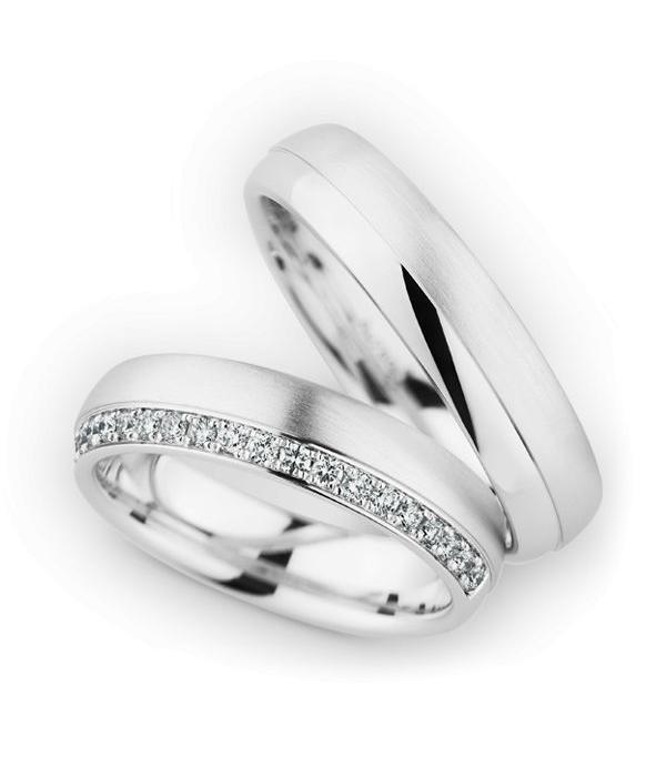 Christian Bauer Wedding Rings 18 Carat White Gold 20 Brilliants