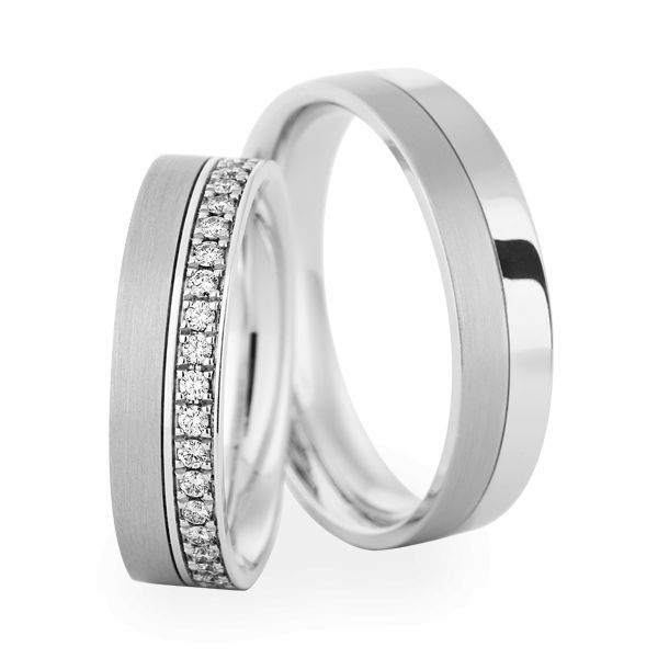 Wedding Rings 18 Carat White Gold 38 Brillanten