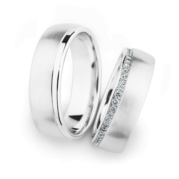 Wedding Rings 14 Carat White Gold 21 Brilliants