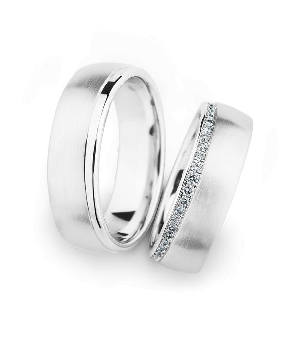 Christian Bauer Wedding Rings 14 Carat White Gold 21 Brilliants