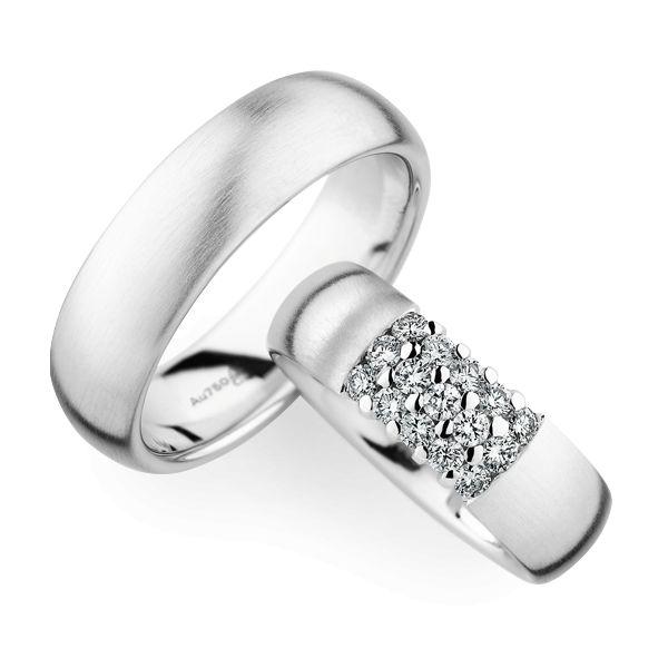 Christian Bauer Wedding Rings 18 Carat White Gold 15 Brilliants Schaap en C