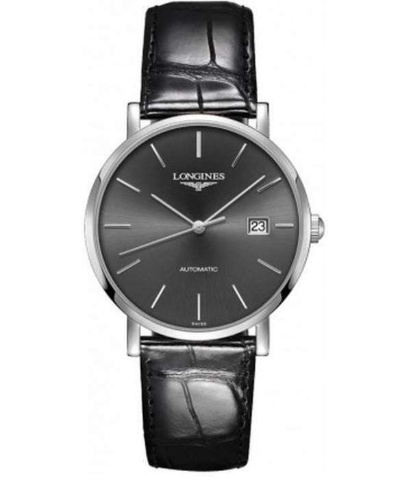 Longines Elegant Collection 39mm Horloge Staal / Zwart / Crocoleder