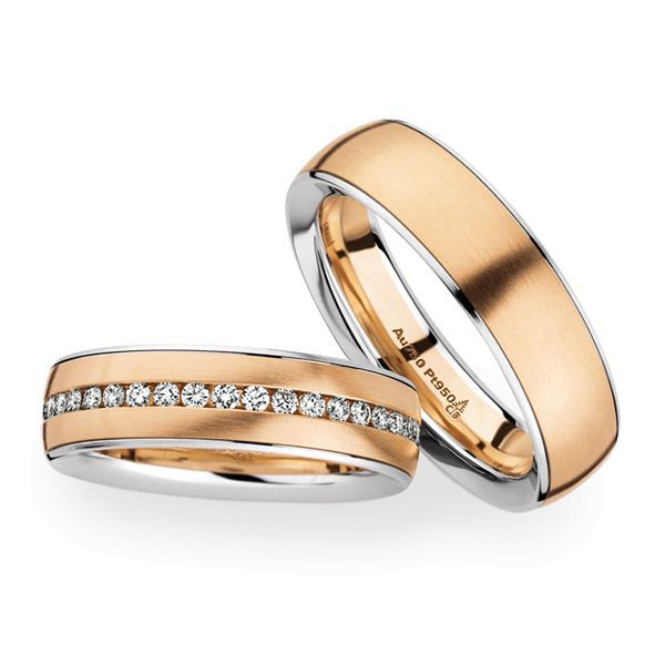 Wedding Rings 950 Platina 18 Carat Rose Gold 40 Brilliants