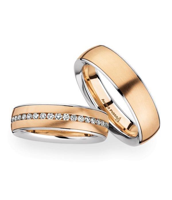 Christian Bauer Wedding Rings 950 Platina 18 Krt. Rose Gold 40 Brilliants