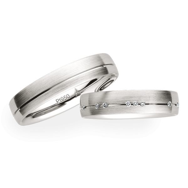 Wedding Rings 950 Platinum 16 Brilliants