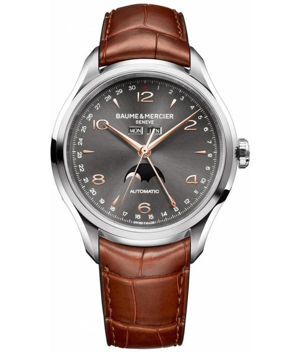 Baume & Mercier Clifton 43mm Horloge Staal Grijs / Alligatorleder